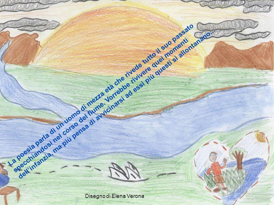 La poesia parla di un uomo di mezza età che rivede tutto il suo passato specchiandosi nel corso del fiume. Vorrebbe rivivere quei momenti dell'infanzia, ma più pensa di avvicinarsi ad essi più questi si allontanano...