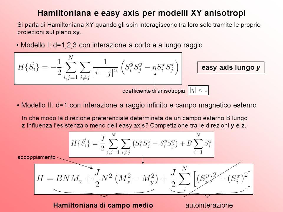 Hamiltoniana e easy axis per modelli XY anisotropi