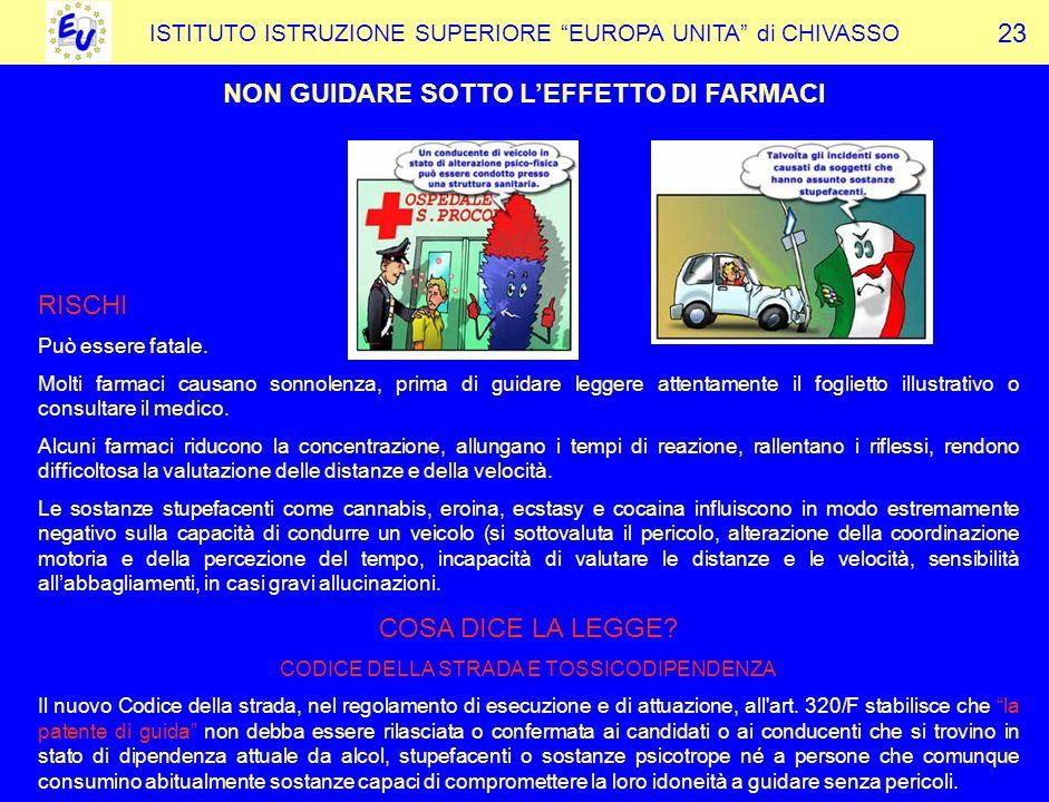 NON GUIDARE SOTTO L'EFFETTO DI FARMACI