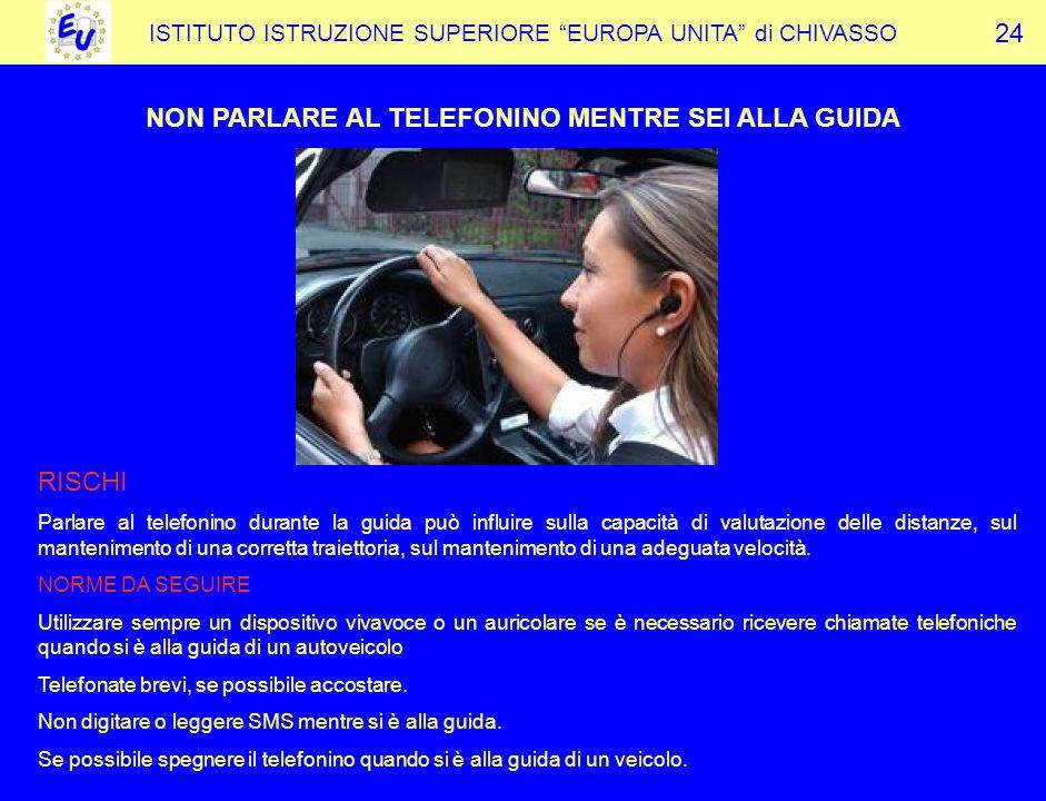 NON PARLARE AL TELEFONINO MENTRE SEI ALLA GUIDA
