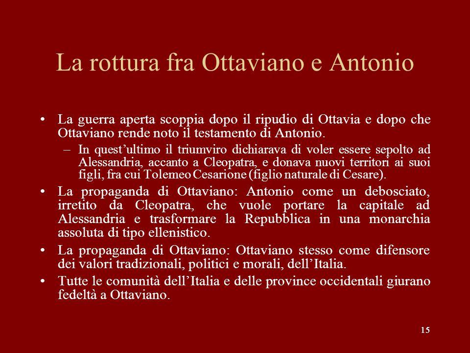 La rottura fra Ottaviano e Antonio
