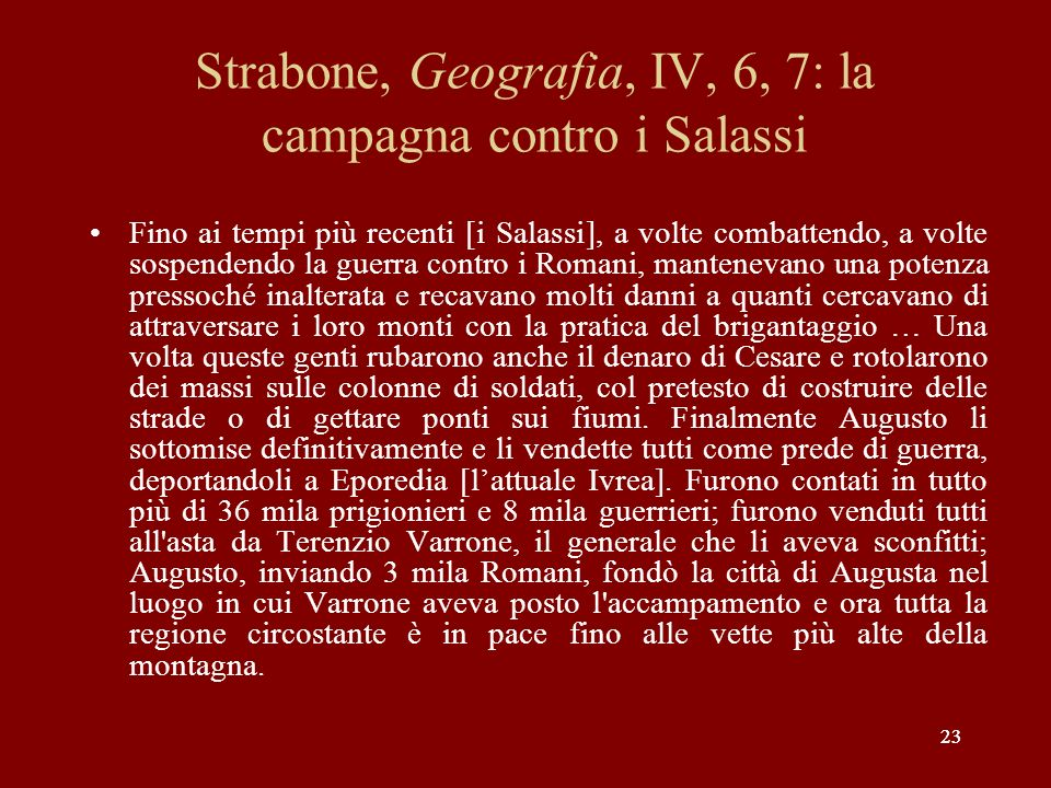 Strabone, Geografia, IV, 6, 7: la campagna contro i Salassi