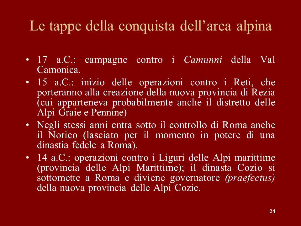 Le tappe della conquista dell'area alpina