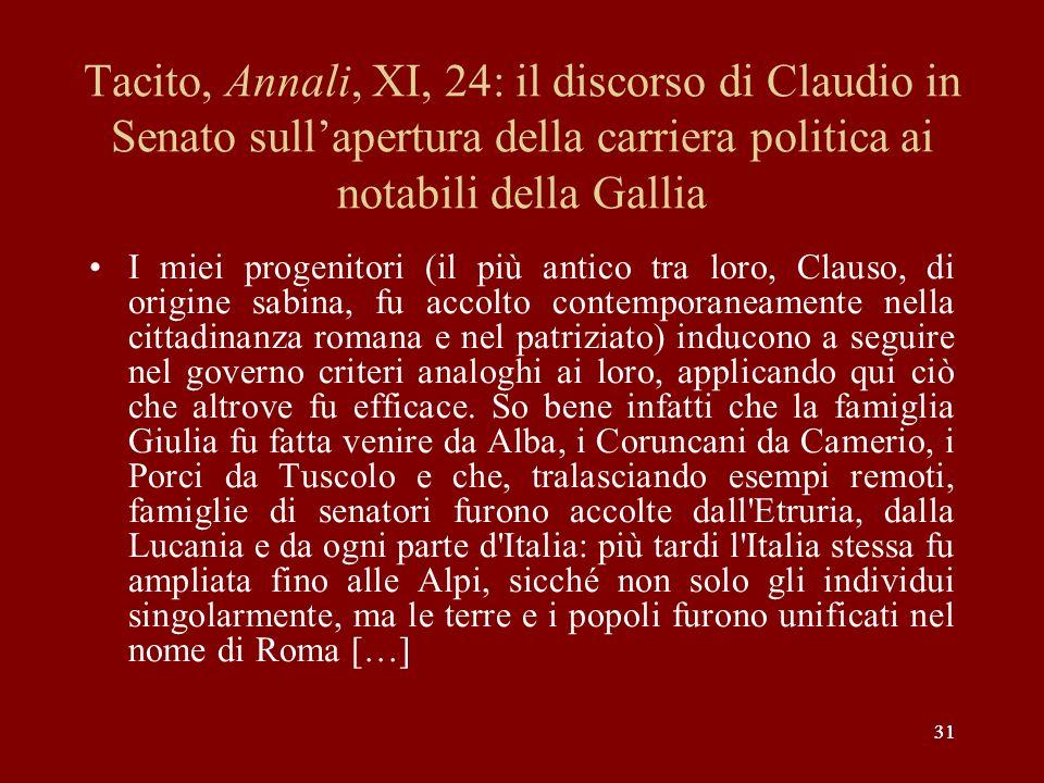 Tacito, Annali, XI, 24: il discorso di Claudio in Senato sull'apertura della carriera politica ai notabili della Gallia