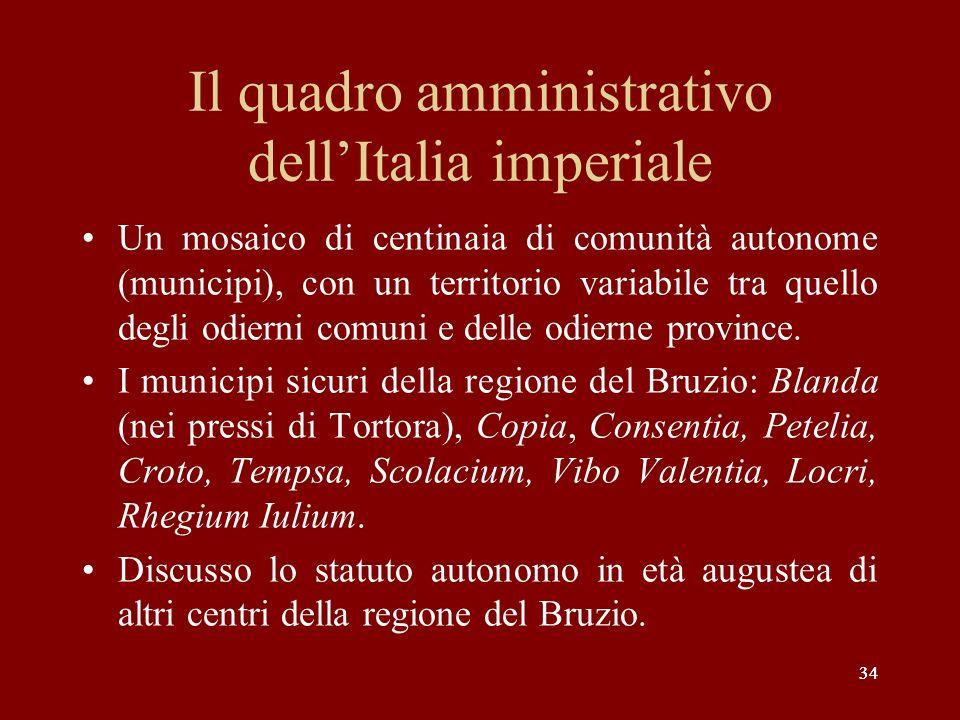 Il quadro amministrativo dell'Italia imperiale
