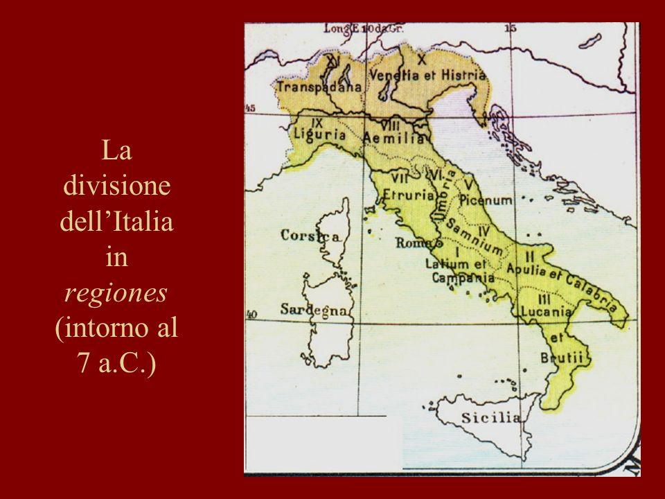 La divisione dell'Italia in regiones (intorno al 7 a.C.)