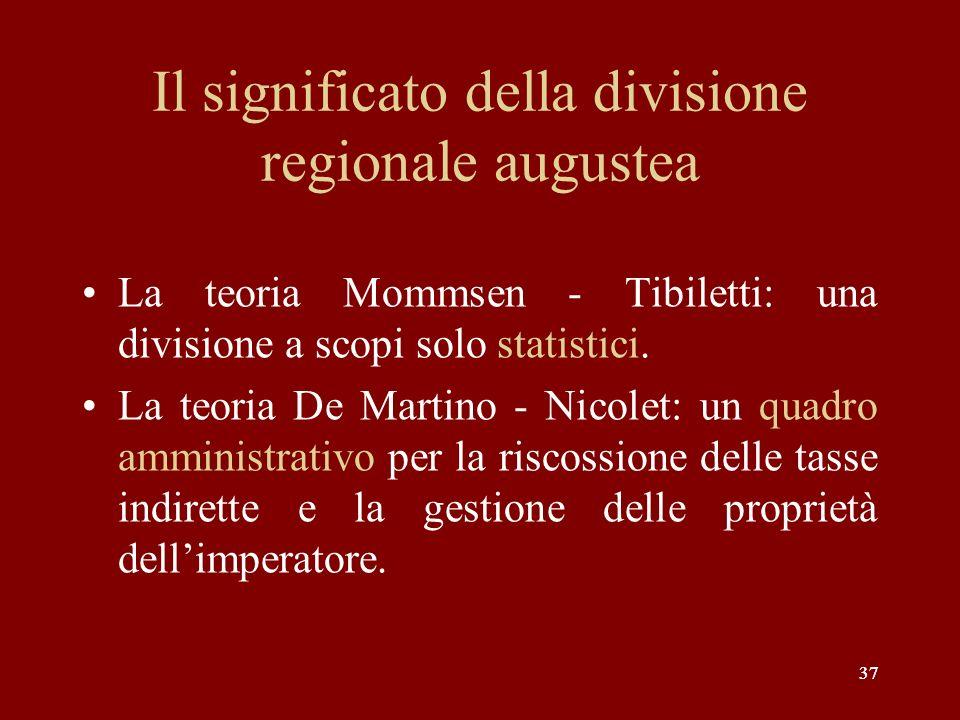 Il significato della divisione regionale augustea