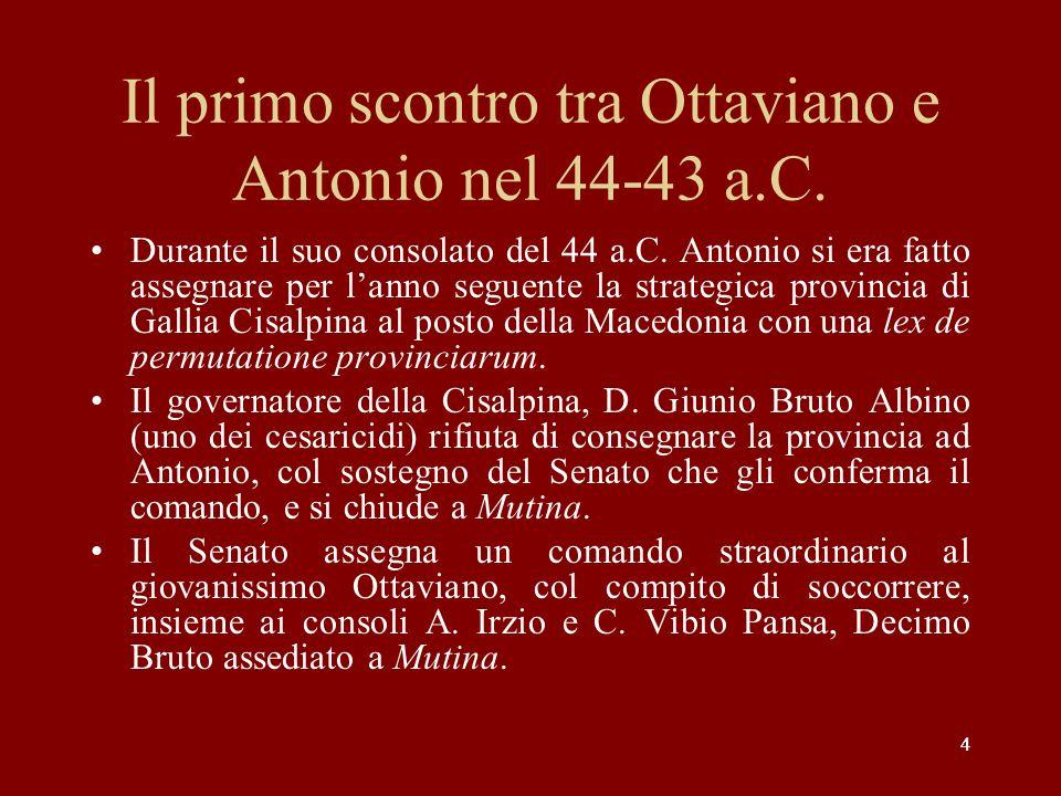 Il primo scontro tra Ottaviano e Antonio nel 44-43 a.C.