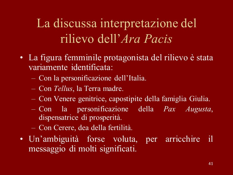 La discussa interpretazione del rilievo dell'Ara Pacis