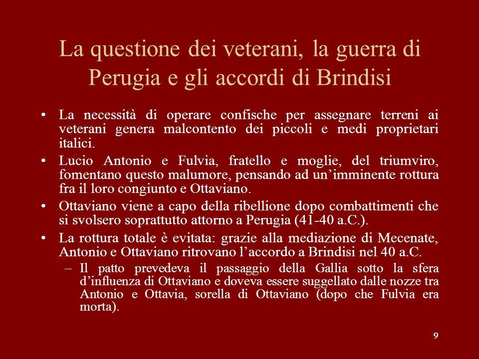 La questione dei veterani, la guerra di Perugia e gli accordi di Brindisi