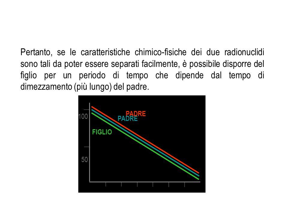Pertanto, se le caratteristiche chimico-fisiche dei due radionuclidi sono tali da poter essere separati facilmente, è possibile disporre del figlio per un periodo di tempo che dipende dal tempo di dimezzamento (più lungo) del padre.