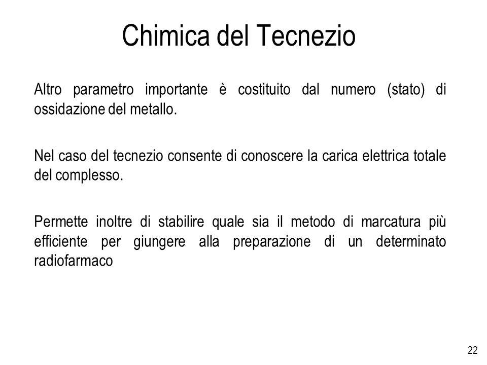 Chimica del Tecnezio Altro parametro importante è costituito dal numero (stato) di ossidazione del metallo.