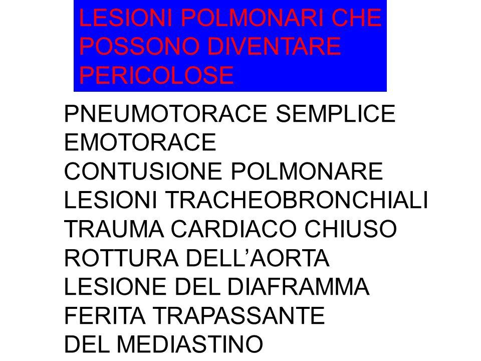 LESIONI POLMONARI CHE POSSONO DIVENTARE. PERICOLOSE. PNEUMOTORACE SEMPLICE. EMOTORACE. CONTUSIONE POLMONARE.