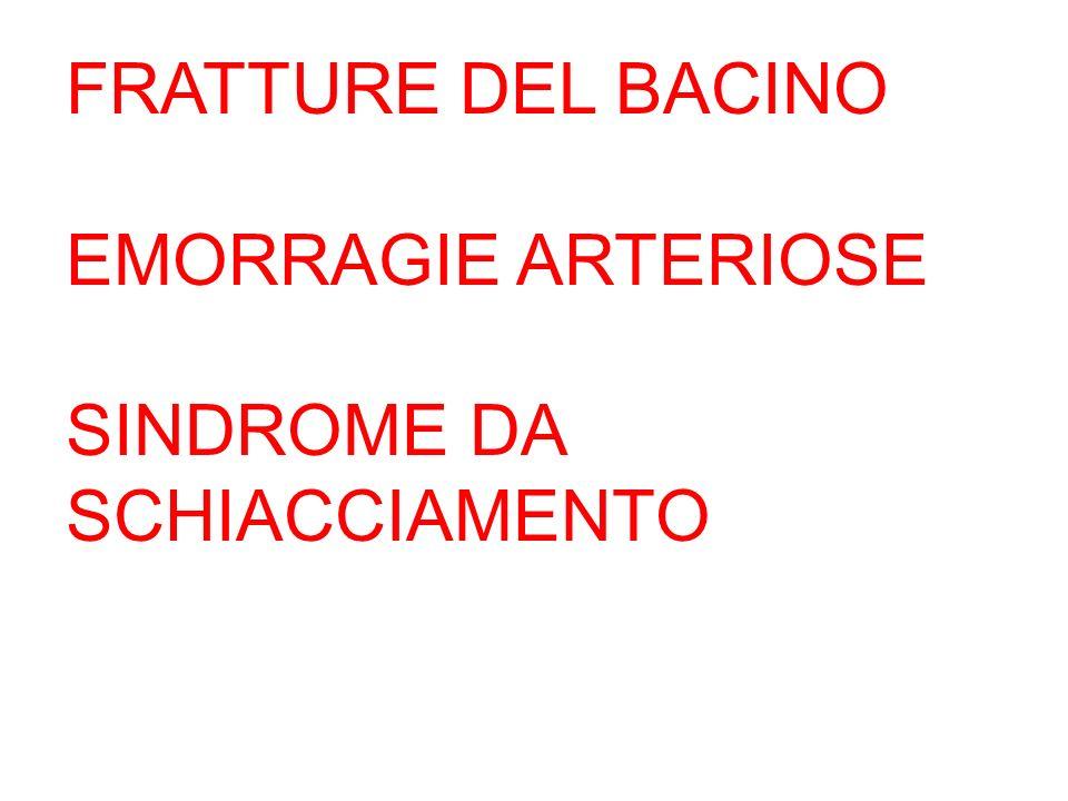 FRATTURE DEL BACINO EMORRAGIE ARTERIOSE SINDROME DA SCHIACCIAMENTO
