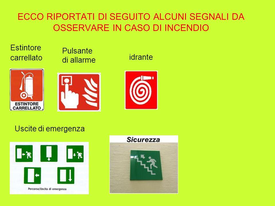 ECCO RIPORTATI DI SEGUITO ALCUNI SEGNALI DA OSSERVARE IN CASO DI INCENDIO