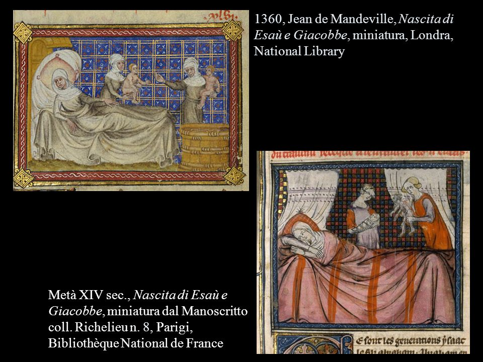 1360, Jean de Mandeville, Nascita di Esaù e Giacobbe, miniatura, Londra, National Library
