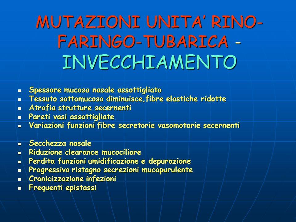 MUTAZIONI UNITA' RINO-FARINGO-TUBARICA -INVECCHIAMENTO
