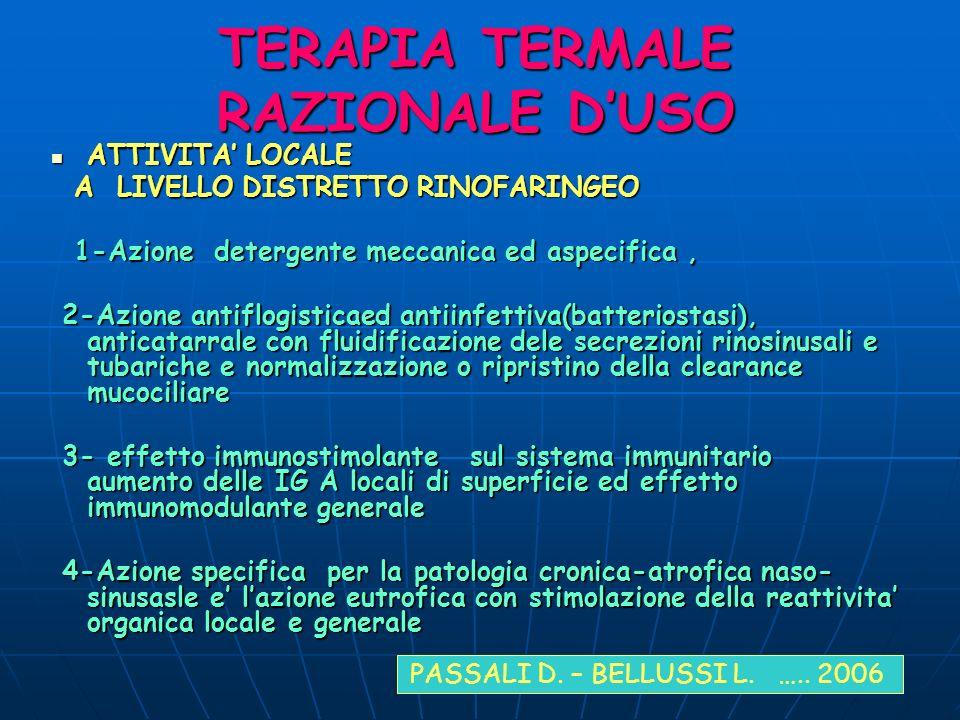 TERAPIA TERMALE RAZIONALE D'USO