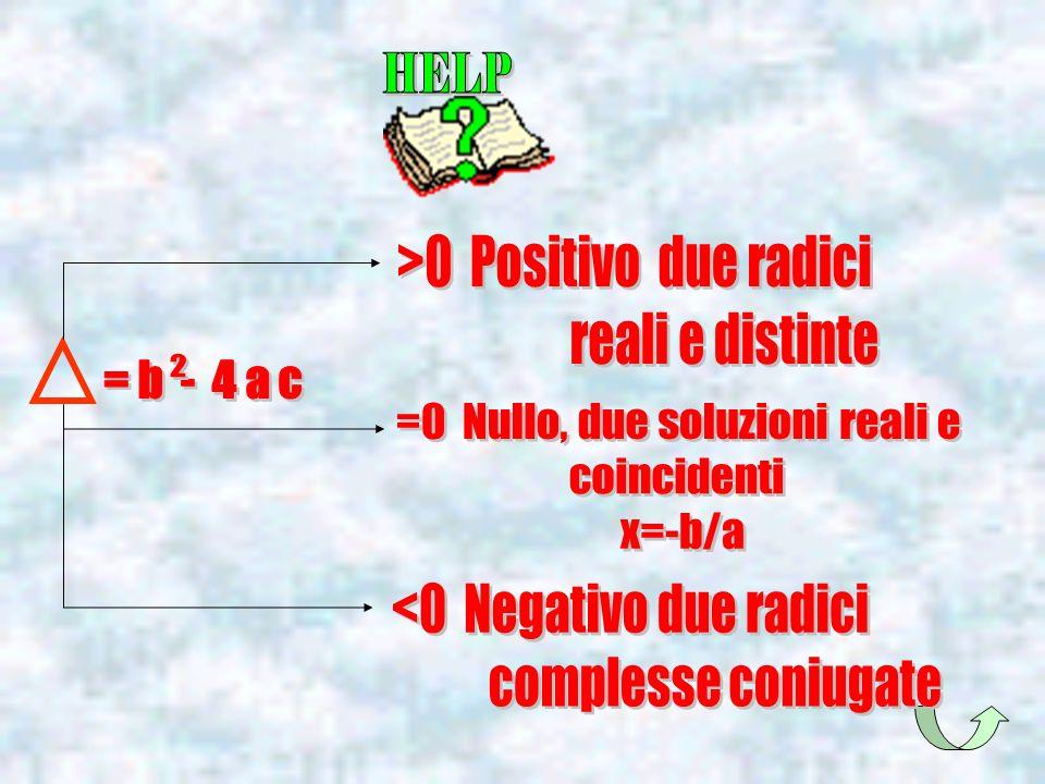 >0 Positivo due radici reali e distinte
