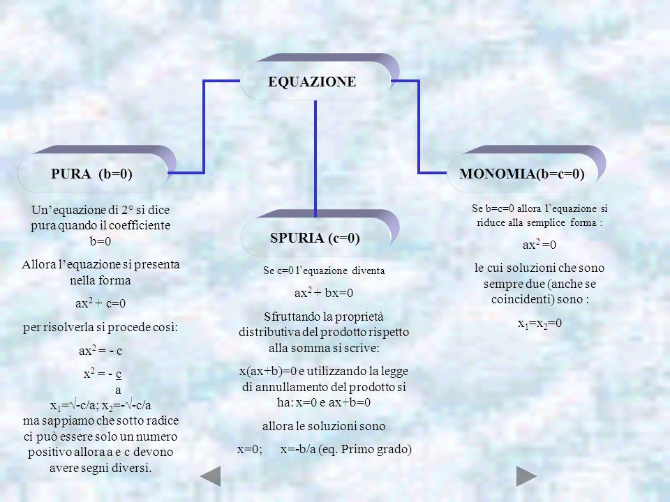 EQUAZIONE PURA (b=0) SPURIA (c=0) MONOMIA(b=c=0)