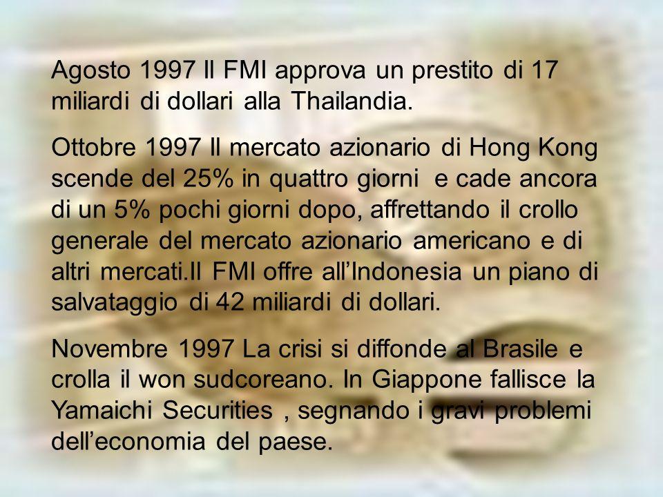 Agosto 1997 Il FMI approva un prestito di 17 miliardi di dollari alla Thailandia.
