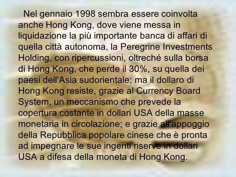 Nel gennaio 1998 sembra essere coinvolta anche Hong Kong, dove viene messa in liquidazione la più importante banca di affari di quella città autonoma, la Peregrine Investments Holding, con ripercussioni, oltreché sulla borsa di Hong Kong, che perde il 30%, su quella dei paesi dell'Asia sudorientale; ma il dollaro di Hong Kong resiste, grazie al Currency Board System, un meccanismo che prevede la copertura costante in dollari USA della masse monetaria in circolazione; e grazie all'appoggio della Repubblica popolare cinese che è pronta ad impegnare le sue ingenti riserve in dollari USA a difesa della moneta di Hong Kong.