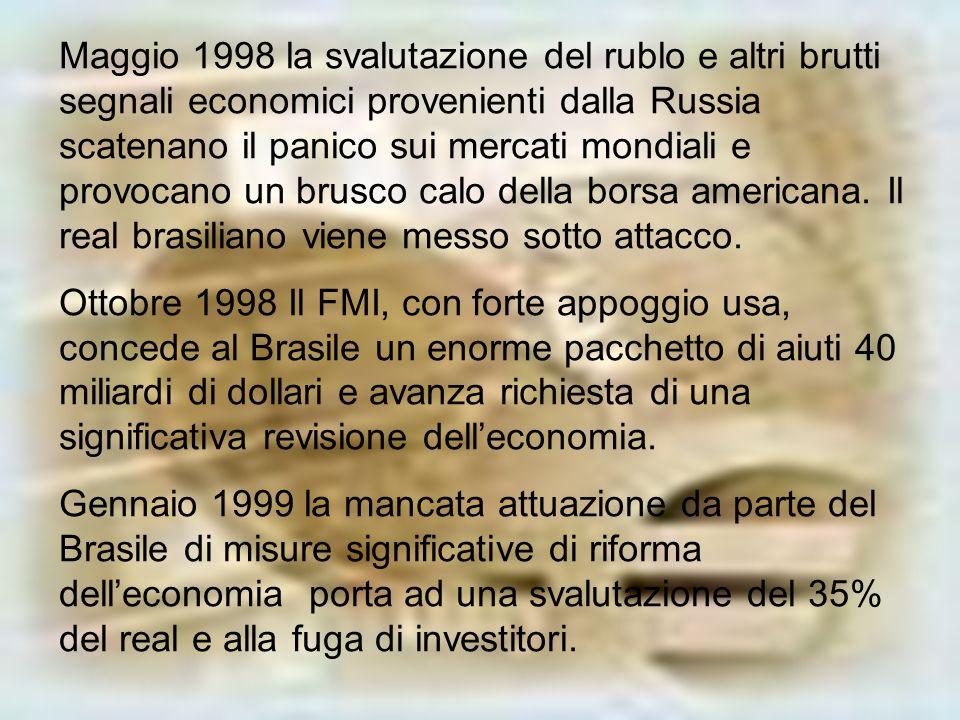 Maggio 1998 la svalutazione del rublo e altri brutti segnali economici provenienti dalla Russia scatenano il panico sui mercati mondiali e provocano un brusco calo della borsa americana. Il real brasiliano viene messo sotto attacco.