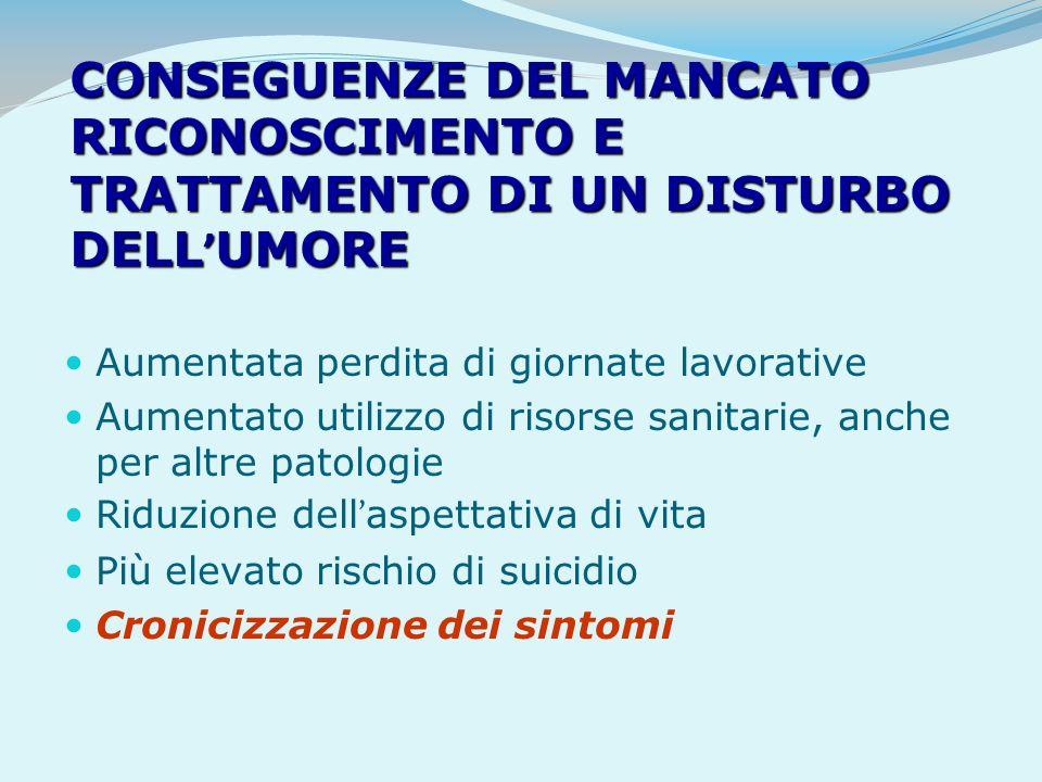 CONSEGUENZE DEL MANCATO RICONOSCIMENTO E TRATTAMENTO DI UN DISTURBO DELL'UMORE
