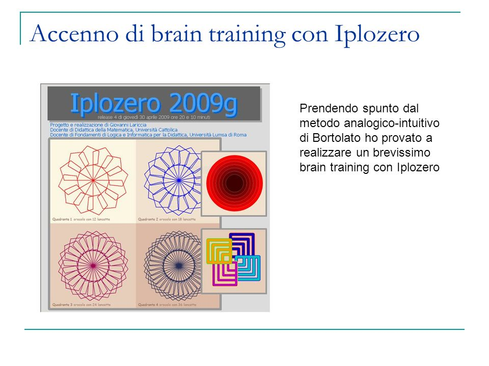 Accenno di brain training con Iplozero
