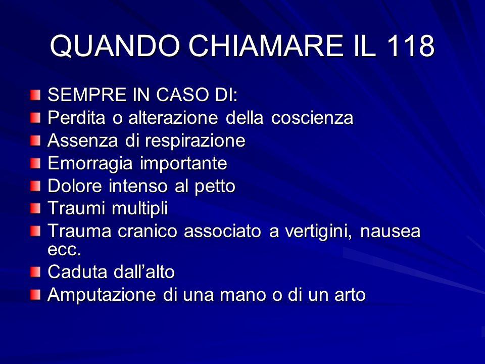 QUANDO CHIAMARE IL 118 SEMPRE IN CASO DI: