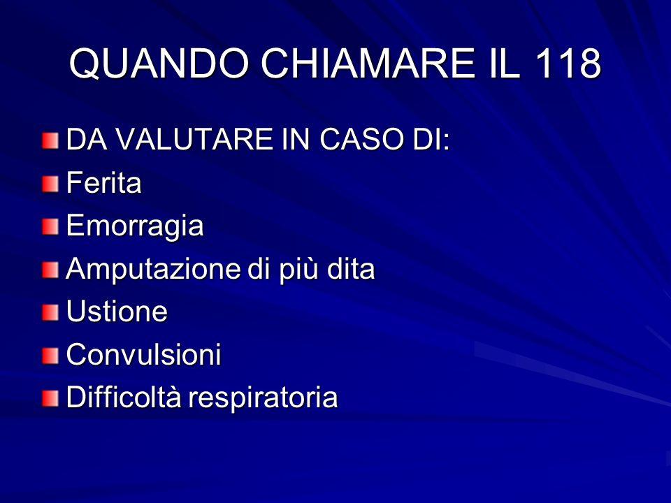 QUANDO CHIAMARE IL 118 DA VALUTARE IN CASO DI: Ferita Emorragia