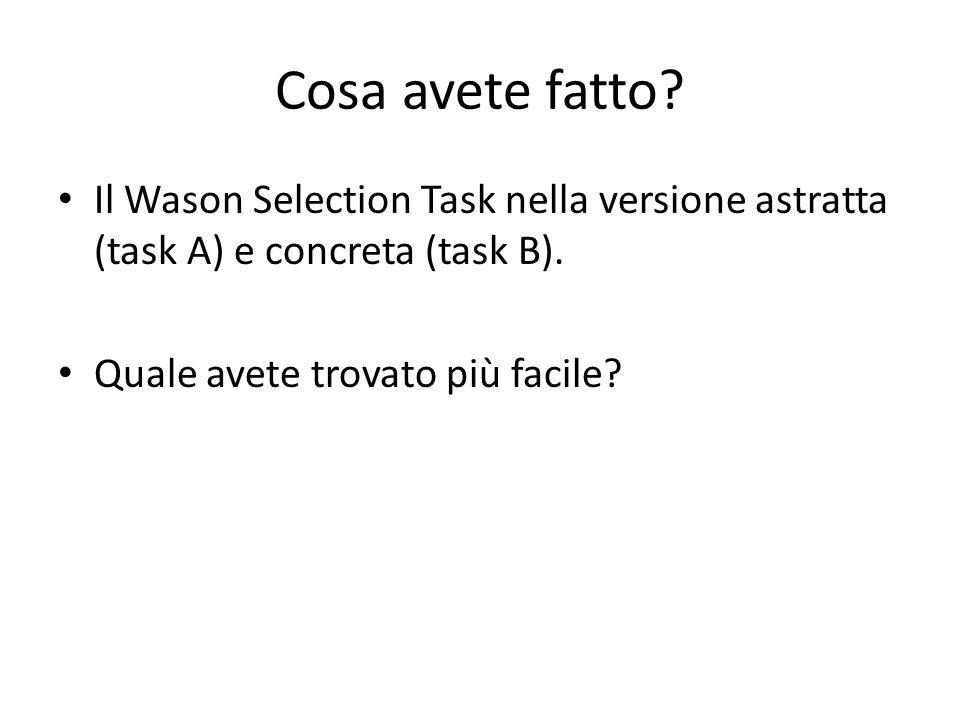 Cosa avete fatto. Il Wason Selection Task nella versione astratta (task A) e concreta (task B).