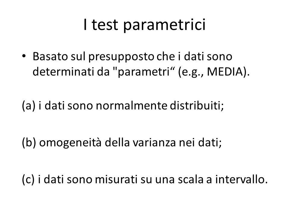 I test parametrici Basato sul presupposto che i dati sono determinati da parametri (e.g., MEDIA).