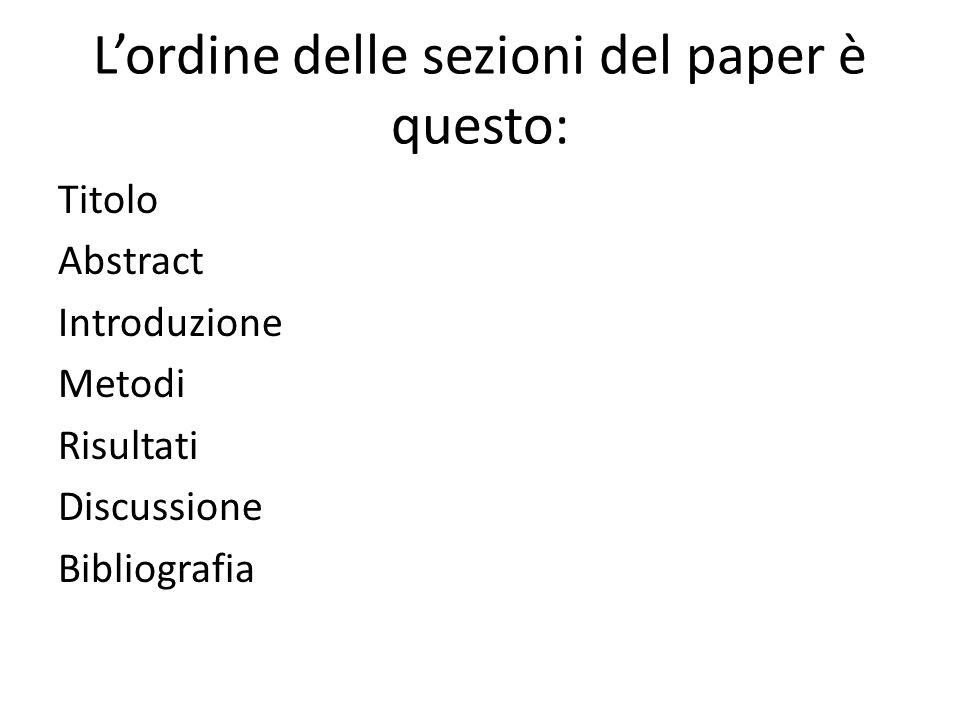 L'ordine delle sezioni del paper è questo: