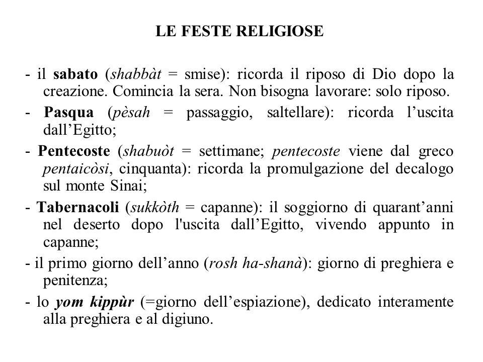 LE FESTE RELIGIOSE - il sabato (shabbàt = smise): ricorda il riposo di Dio dopo la creazione. Comincia la sera. Non bisogna lavorare: solo riposo.