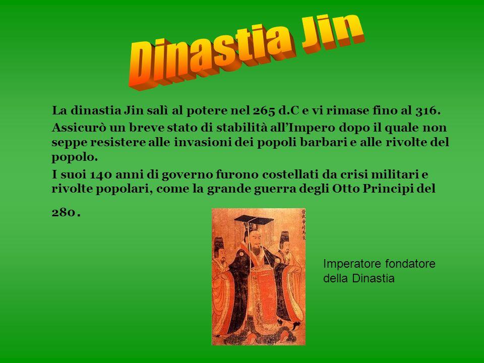 Dinastia Jin La dinastia Jin salì al potere nel 265 d.C e vi rimase fino al 316.