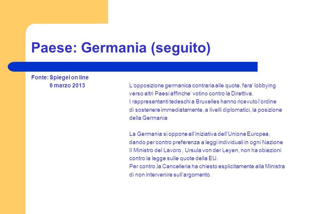 Paese: Germania (seguito)