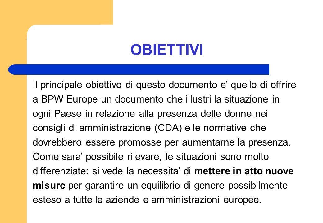 OBIETTIVI Il principale obiettivo di questo documento e' quello di offrire. a BPW Europe un documento che illustri la situazione in.