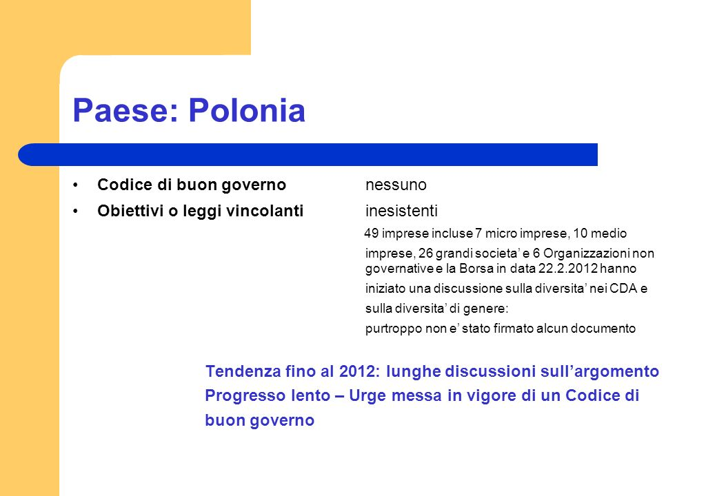 Paese: Polonia Codice di buon governo nessuno