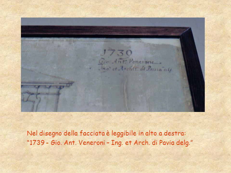 Nel disegno della facciata è leggibile in alto a destra: