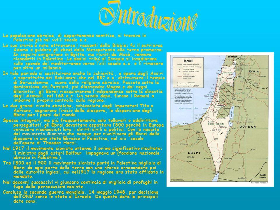 Introduzione La popolazione ebraica, di appartenenza semitica, si trovava in Palestina già nel xviiii secolo a.c.
