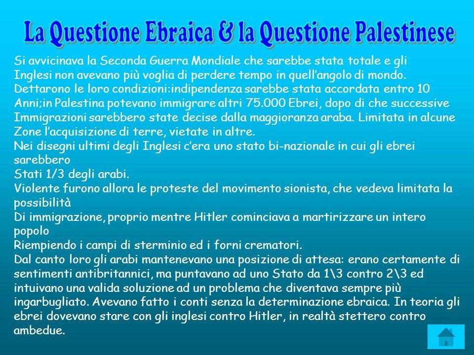 La Questione Ebraica & la Questione Palestinese