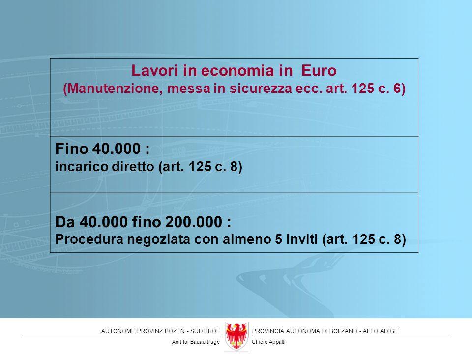 Lavori in economia in Euro