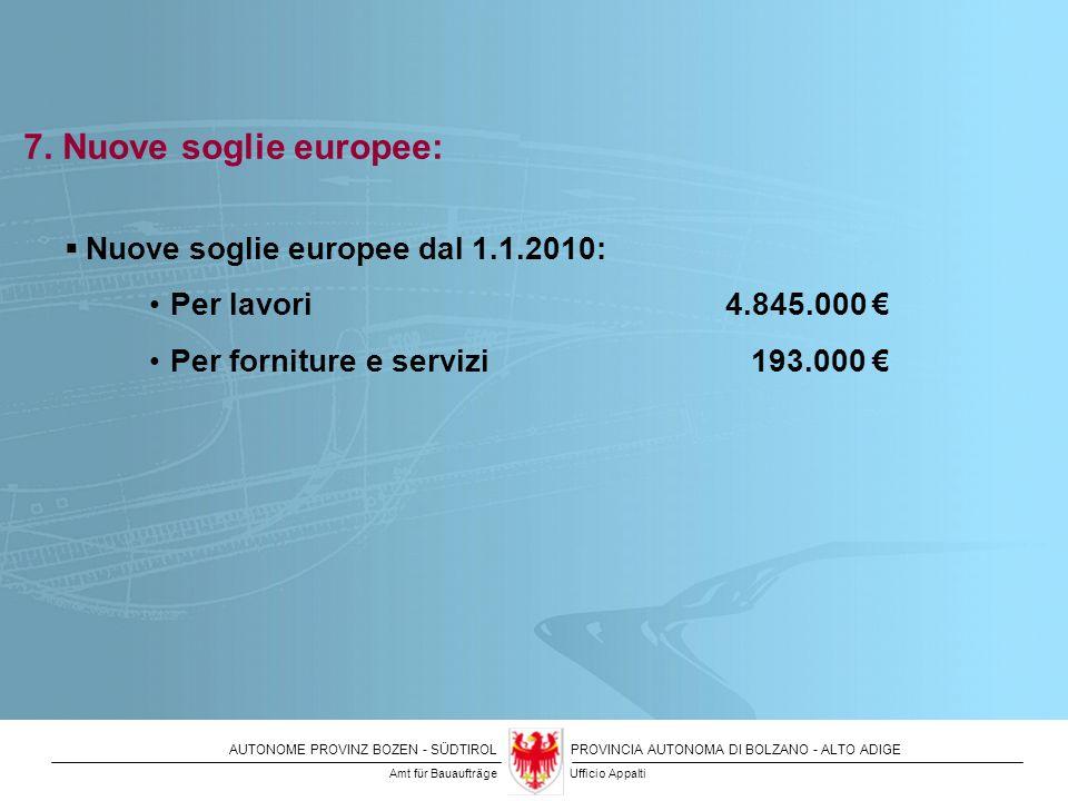 7. Nuove soglie europee: Nuove soglie europee dal 1.1.2010: