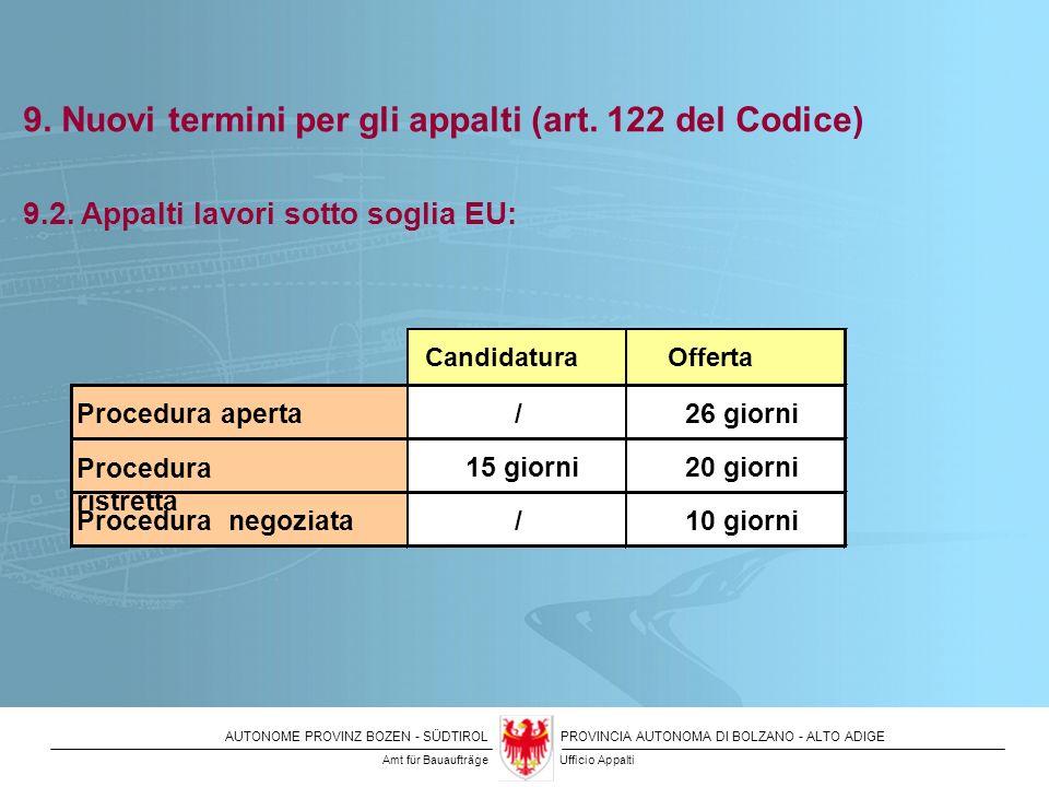 9. Nuovi termini per gli appalti (art. 122 del Codice)