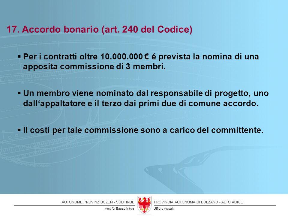 17. Accordo bonario (art. 240 del Codice)
