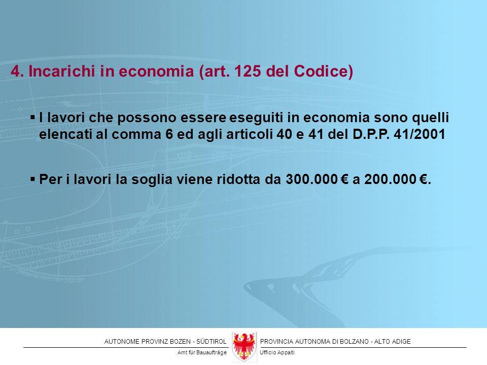 4. Incarichi in economia (art. 125 del Codice)