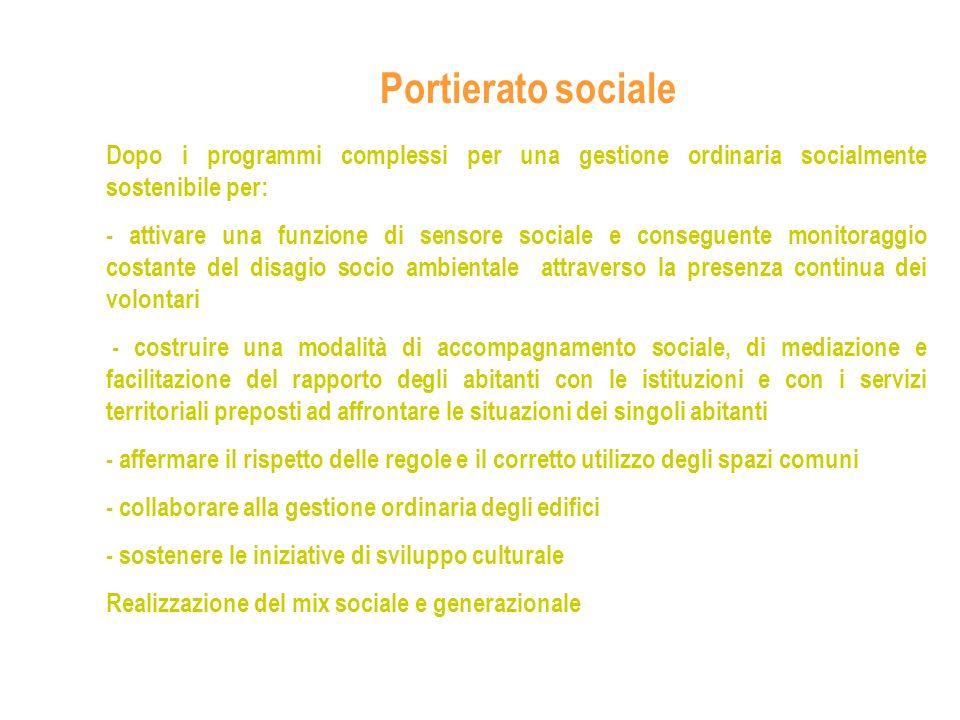 Portierato sociale Dopo i programmi complessi per una gestione ordinaria socialmente sostenibile per: