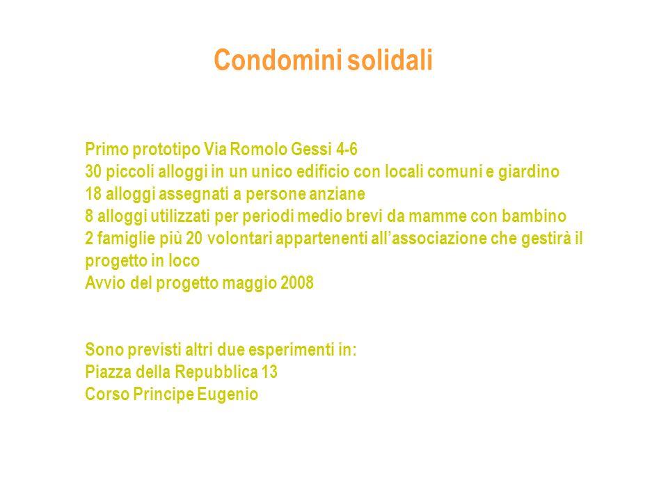 Condomini solidali Primo prototipo Via Romolo Gessi 4-6