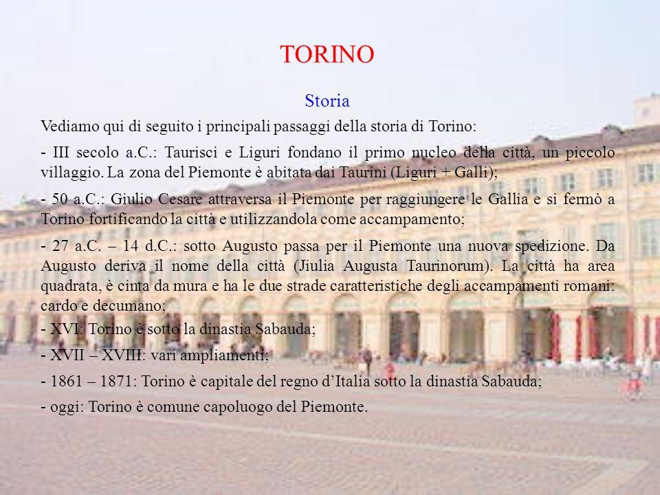 TORINO Storia. Vediamo qui di seguito i principali passaggi della storia di Torino: